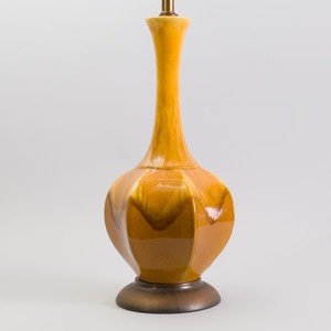 Modern Ochre Drip Glazed Pottery Hexagonal Pear-Form Table Lamp on Metal Base