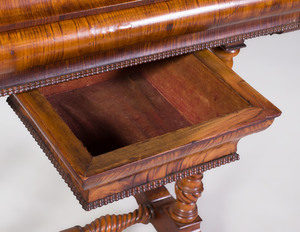 Victorian Walnut, Lemonwood Marquetry Sewing and Music Table
