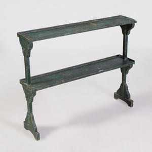 French Provincial Rustic Green Painted Étagère
