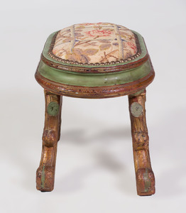 Italian Rococo Style Painted and Parcel-Gilt Stool