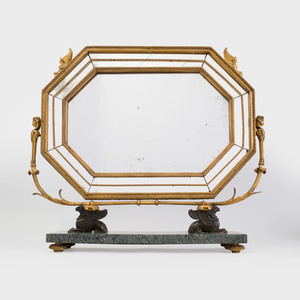 Unusual Regency Gilt and Patinated-Bronze-Mounted Marble Dressing Mirror, Possibly Italian