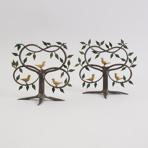 Pair of Painted Wrought-Iron and Gil-Metal Bird-in-Tree Candlesticks