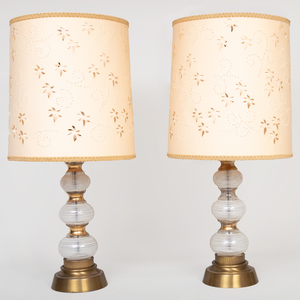 Pair of Modern Painted and Gilt Glass Lamps