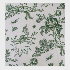 Three Sets of French Green and Cream Linen Toile Curtains, Le Manach