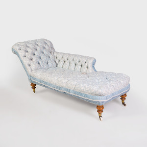 Victorian Mahogany and Tufted Upholstered Chaise Longue