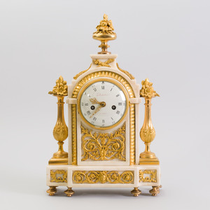 Fine Louis XVI Ormolu-Mounted Marble Mantle Clock