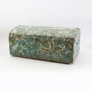Blue Ground Wallpaper Covered Pine Domed Marriage Chest