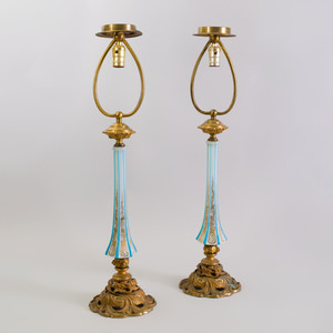 Pair of Gilt-Metal Mounted Overlay Opaline Glass Lamps