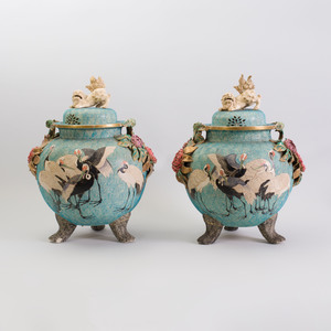Pair of Japanese Large Tripod Flower Incrusted Pottery Jars and Covers