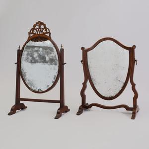 George III Inlaid Mahogany Dressing Mirror