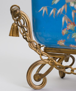 French Gilt-Metal-Mounted Blue Ground Opaline Glass Jardinière