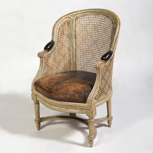 Louis XVI Cream and Blue Painted Caned Bergère, Stamped G. Boucauld