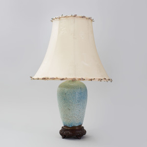 Chinese Pale Blue Speckled Glazed Porcelain Baluster-Shaped Lamp on Stand