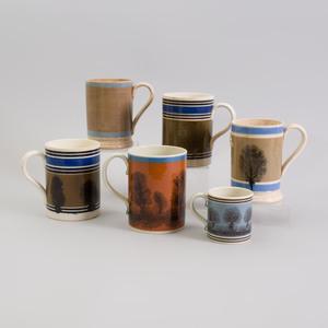 Group of Six English Mochaware Mugs