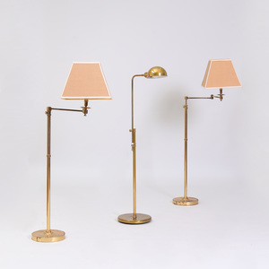 Pair of Brass Reading Lamps with Retractable Arms