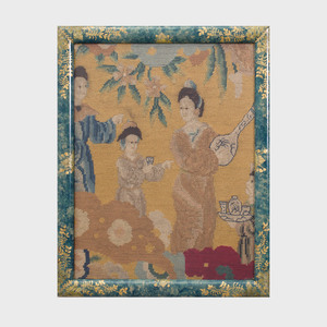 Pair of Continental Chinoiserie Figural Needlework Panels
