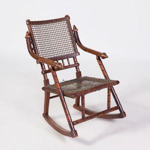 Hunzinger Mahogany and Ebonized Rocking Chair