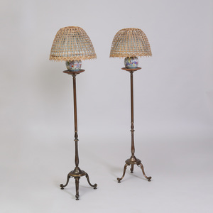 Pair of Chinese Export Porcelain and Brass Floor Lamps