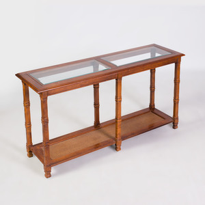 Modern Stained Wood, Glass and Reeded Two-Tier Side Table