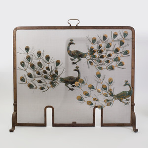 Metal Fire Screen with Applied Peacock Decoration
