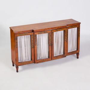 Diminuative Edwardian Style Painted Satinwood Cabinet