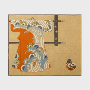 Two Japanese Hooked Fabric Panels, Modern