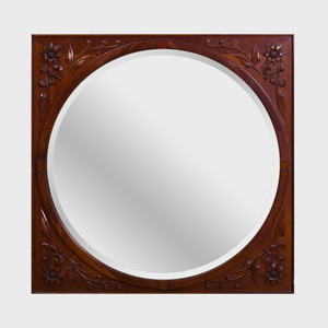 Continental Carved Mahogany Mirror, Modern
