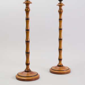 Pair of Painted Faux Bamboo Lamps with Shades