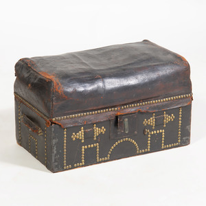 American Brass Studded Leather Trunk