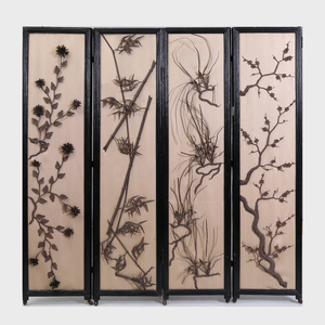 Japanese Style Metal-Mounted Four Panel Ebonized Screen