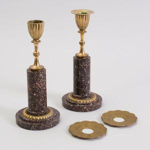 Pair of Swedish Gilt-Metal-Mounted Porphyry Candlesticks