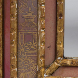 Continental Baroque Style Reverse Rose Painted and Parcel-Gilt Mirror