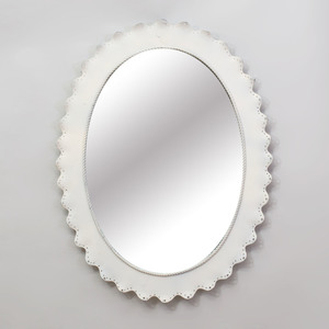 Pair of Modern White Painted Metal Oval Mirrors