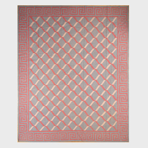 Modern Grey, Pink and Red Geometric Flatweave Carpet