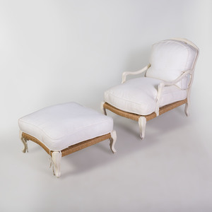 Swedish Rococo Style Provincial White Painted and Rush Chair and Ottoman