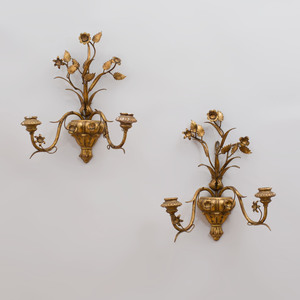 Pair of Continental Giltwood and Gilt-Metal Two-Light Sconces
