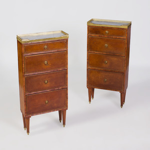 Pair of Louis XVI Style Brass-Mounted Mahogany and Leather Petit Commodes