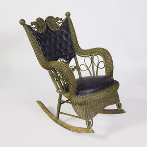 Green Painted Wicker and Leather Rocking Chair
