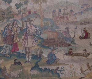 English Baroque Style Petite Point Needlework Panel