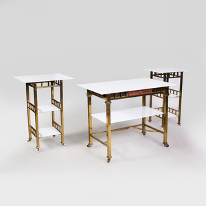 Suite of Three Modern Brass and White Glass Tables