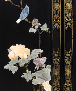 Chinese Black Lacquer, Parcel-Gilt and Hardstone Six-Panel Screen