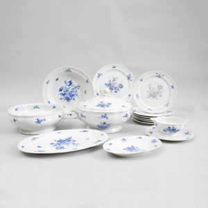 Limoges Blue and White Porcelain Fifty-Seven Piece Part Dinner Service