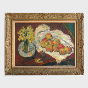 Moshe Castel (1909-1992): Still Life with Apples, Flowers and Pipe