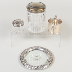 Three Silver Mounted Glass Articles and a Child's Mug