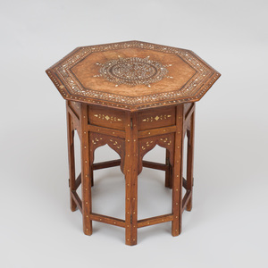 Indian Bone Inlaid Teak Octagonal Low Table