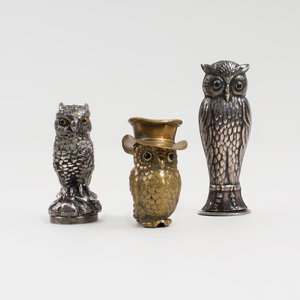 Three Owl Desk Articles with Inset Eyes