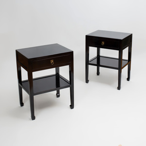 Pair Chinese Style of Black Lacquer End Tables, of Recent Manufacture