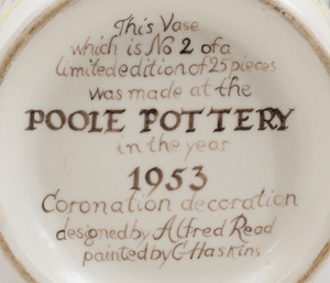 Poole Pottery Queen Elizabeth Coronation Vase, Designed by Alfred Read