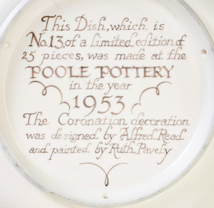 Poole Pottery Queen Elizabeth II Coronation Dish, Designed by Alfred Read