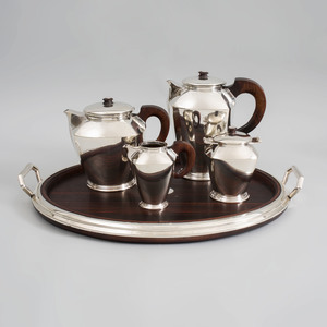 Belgian Art Deco Silver Four Piece Tea and Coffee Service with Matching Silver-Mounted Rosewood Tray